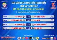 Kết quả - BXH Vòng 6 - Giải bóng đá Phong trào hạng nhất Sơn Tây lần thứ 2 - năm 2018