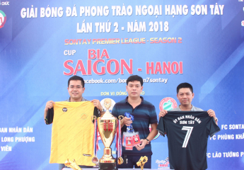 Khởi động giải bóng đá phong trào Ngoại hạng Sơn Tây lần thứ 2, năm 2018